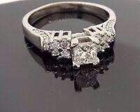 14K White Gold 1.14 CT Princess Round Diamond Engagement Ring .70TCW #32342B