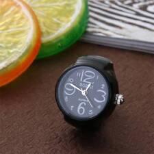 Unisex Black Finger Ring Watch Creative Steel Round Dial Elastic Quartz Gift