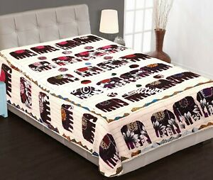 Indian Kantha Bedspread Single Size Kids Beige Cotton Elephant Stitched Bedding