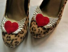 Silver Wings Red Velvet Hearts Shoe Clips - Dizzy Luscious Rockabilly Pin-up