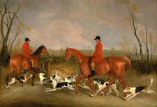 """Charming Oil painting horsemen in red cloth & horses hounds dog in landscape 36"""""""