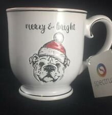 CHRISTMAS English Bulldog  Embossed COFFEE MUG by SPECTRUM Santa Hat Bullie Gift