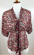 AX Armani Exchange Red And Sliver Silk Tie Front Blouse Womens Size XS New!!!
