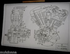 HARLEY DAVIDSON Shovelhead Engine Oil Map Blueprint Drawing poster print FL FX