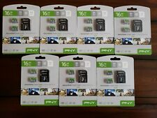 Lot of 7 PNY SDHC Flash Card 16GB Prime MicroSD 2-pk Elite Card Canon Nikon Sony