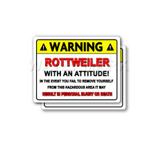 Rottweiler Warning Attitude Decal Hard Hat Window Bumper 2 pack Stickers mka