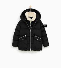 Zara Kids Girl Down Puffer Javket With Faux Fur Collar Size 5 NWT