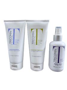 Tricomin Shampoo 6 OZ, Reinforcing Conditioner 6 OZ & Energy Spray 6 OZ Set