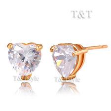 T&T 9K Rose Gold GP 8mm Clear CZ Heart Stud Earrings (ED42)