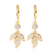 Women Leaf Micro Pave CZ Stones Cubic Zirconia Drop Earrings Jewelry Gifts