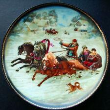 Fedoskino Russische Trojka Porzellan Zierteller Entwurf N.Leonowa Sammlerstück