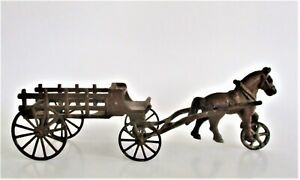 Antique Cast Iron Toy Horse and Wagon