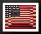 Three Flags 31x26 Large Black Wood Framed Art Print by Jasper Johns