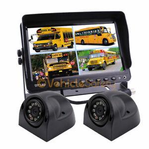 "12-24V 7"" Quad Monitor Car Rear View Kit for Truck Bus Car + 2* IR Side Cameras"