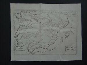 1808 CELLARIUS Atlas map  HISPANIA ANTIQUA - Ancient Spain - Portugal