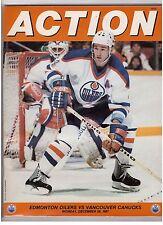 1987-88 VANCOUVER CANUCKS vs at EDMONTON OILERS PROGRAM 12/28/87 MESSIER 2 GOALS