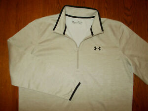 NEW UNDER ARMOUR COLD GEAR 1/2 ZIP LONG SLEEVE HEATHER TAN PULLOVER MENS XL