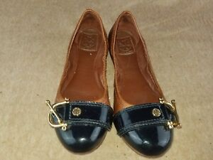 Tory Burch Women's Shoes Soft Leather Brown Slip On Ballet Buckle Flats Size 6 M
