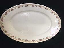FRAUREUTH GERMANY PINK FLORAL OVAL SERVING DISH 12 X 8 X 1 3/8 inches hign