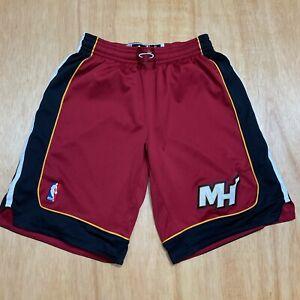 "100% Authentic Miami Heat Adidas White Shorts M+2"" Mens lebron james wade bosh"