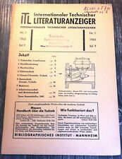 Internationaler Technischer Literaturanzeiger - Nr. 1 / 1965 / Bd 9