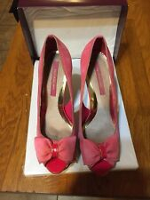 Hot! Pink Suede Open Toe, Bow, Gold Heels Dressing Shoes Size 6 River Island
