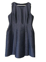 Trent Nathan 16 Navy & white polka dot fit and flare dress, with pockets