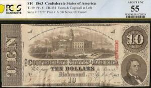 1863 $10 DOLLAR BILL CONFEDERATE STATES CURRENCY CIVIL WAR NOTE T-59 PCGS 55