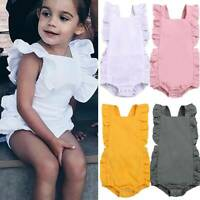 Newborn Infant Baby Girls Plain Ruffle Romper Bodysuit Playsuit Jumpsuit Outfit
