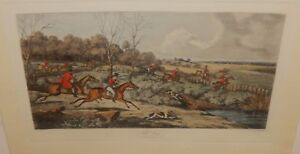 """THOMAS SUTHERLAND """"FULL CRY"""" AFTER HENRY ALKEN ORIGINAL COLORD ENGRAVING"""