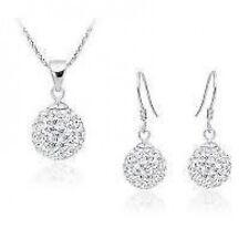 Shamballa Crystal jewerly wedding jewelly Earrings & Necklace set white