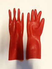 Latex Short Gloves 0.4mm for Catsuit Dress Rubber Fetish Costume Red