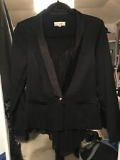 The Style London Black Chiffon Fishtail Blazer Size M Size 10/12