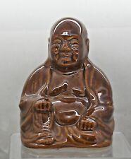 Handmade Vintage Studio Pottery Brown Glaze Chinese Happy Buddha