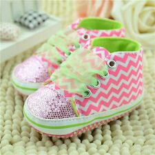 New Bling Floral Sequin Infant Soft Sole Toddler Baby Girls Shoes First Walker