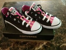 CONVERSE All Star Girls Sneakers Shoes Size 2 Black Pink White
