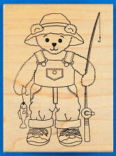 Teddy Bear Fisherman Rubber Stamp by Sweet Impressions - Fishing Rod, Tiny Catch