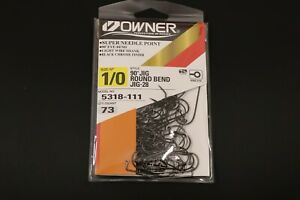 OWNER 5318-111 90 Degree JIG HOOKS w/SUPER NEEDLE POINT Size 1/0  Pro Pack of 73