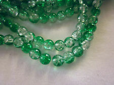 50 Forest-Green/Crystal 8mm Crackle Beads #cr486 (Combine Post Before Paying)