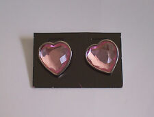 Pink faceted heart shaped stud earrings