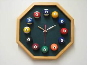 Billiard Wall Clock Octagon Oak Frame Spruce Felt