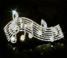 w Swarovski Crystal ~TREBLE g CLEF~ Music Musical Note Piano Pin Brooch Jewelry