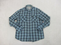 Converse Button Up Shirt Adult Large Blue White Plaid Preppy Casual Mens B52