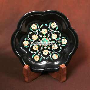 6'' Black Marble Decor Plate Marquetry Floral Inlay Best Gifts For Giving H3705