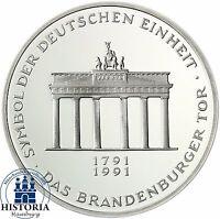 BRD 10 DM Brandenburger Tor 1991 Silber Stempelglanz Münze in Münzkapsel