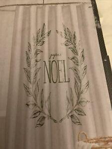Threshold Holiday Christmas Green on White Joyeux NOEL Fabric Shower Curtain New