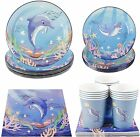 Cieovo Ocean Sea Life Dolphin Party Pack, Serves 16 Guest -Including Dinner Plat