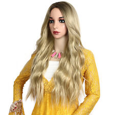 """Elegent Women Ombre Long Soft Wavy Blond Wig Synthetic Wig Club Costume 28"""""""