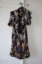 AllSaints Silk Tunic Dress Butterflies Birds Drape Cowl Neck 6 8 XS RRP180 Nami