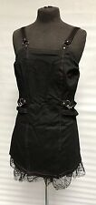 Gothic Punk Pinafore Dress With Red Stitching & Lace Trim One Size
